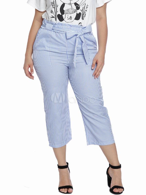 Pantalones De Bolsa Azul 2021 Tallas Grandes Sash De Cintura Alta Pantalones De Vestir Para Mujeres Milanoo Com