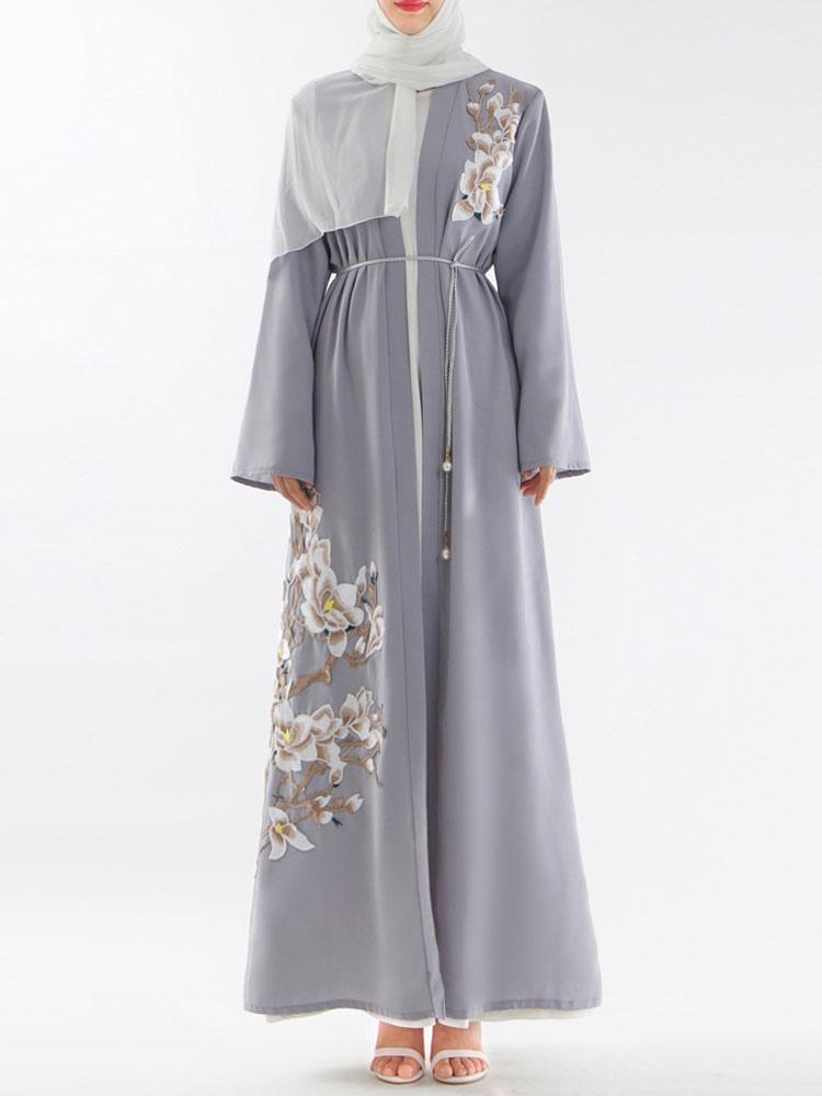 sale retailer 85fc4 18700 Abaya Maxi Abito Musulmano Abito donna ricamato aperto davanti manica lunga  arabo