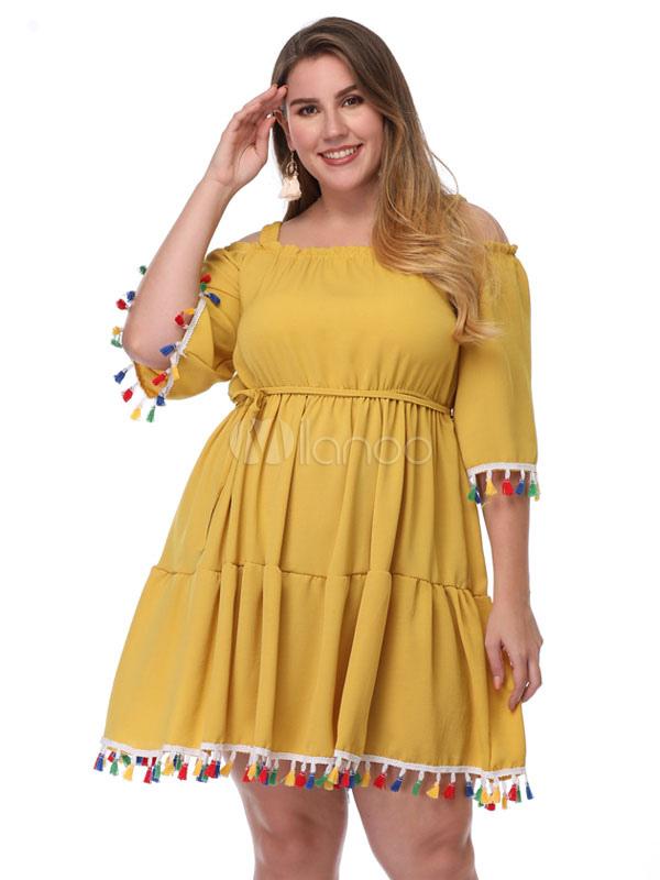 Plus Size Summer Dress Yellow Half Sleeve Women Short Sundress With Pom Poms
