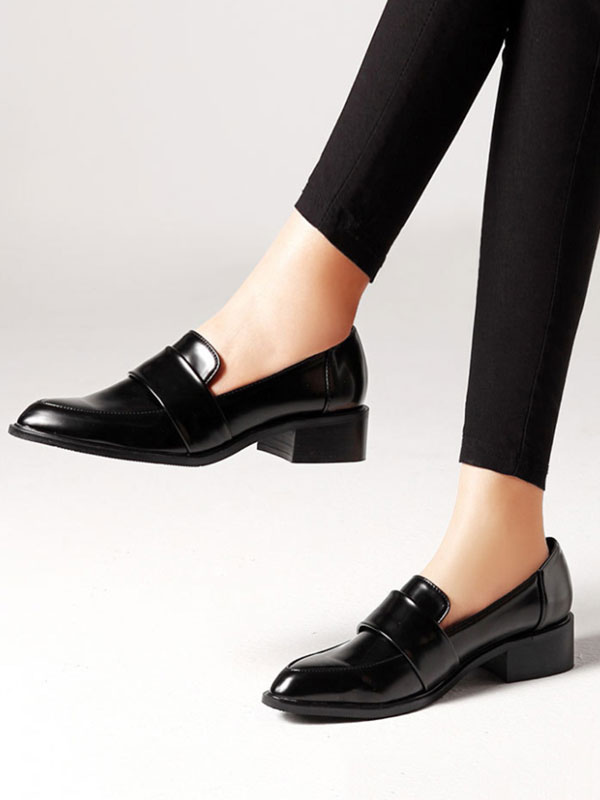 shoes for cheap wholesale price best loved Women Black Loafers Pointed Toe Slip On Shoes Casual Shoes ...