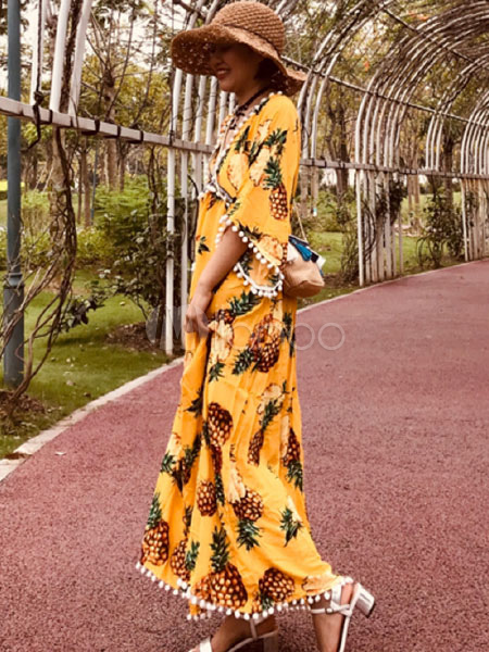 ad704b5730 ... Bohemian Dresses Yellow V-Neck Short Sleeves Printed Shaping Pom Poms  Beach Dress-No ...