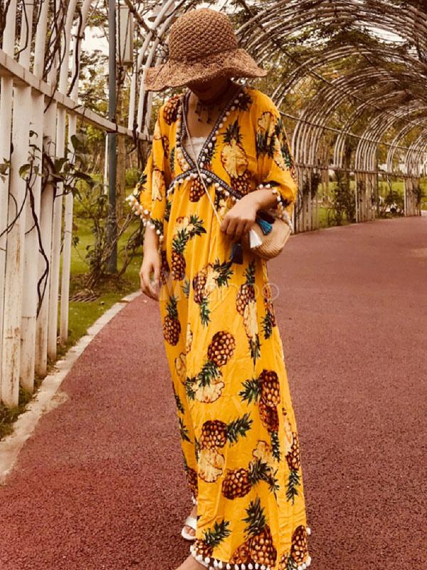 8c7014517e Bohemian Dresses Yellow V-Neck Short Sleeves Printed Shaping Pom Poms Beach  Dress-No ...