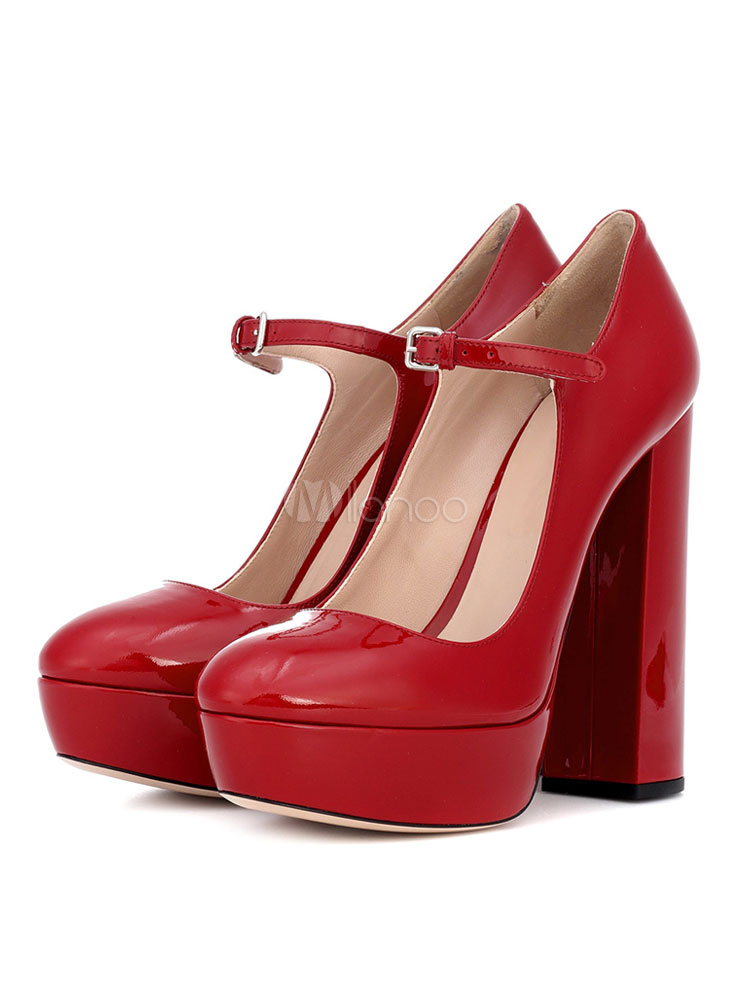 la mejor actitud moda atractiva marca famosa Tacones Altos Rojos Zapatos De Vintage Mary Jane Con Punta Redonda Para  Mujer Zapatos Sexy