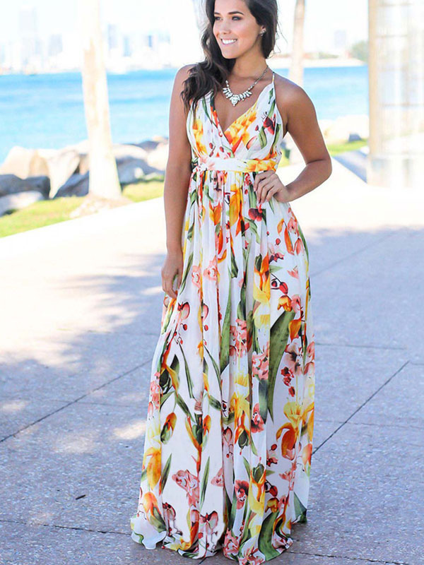 Fl Maxi Dress V Neck Sleeveless