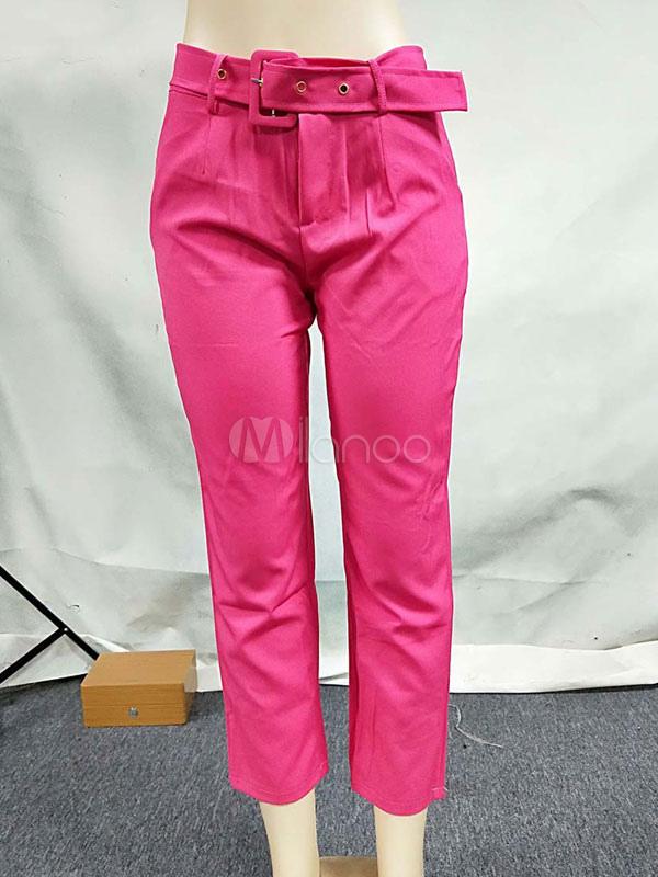 Pantalones De Vestir Para Mujer Pantalones De Cintura Alta Con Fajin Amarillo Milanoo Com