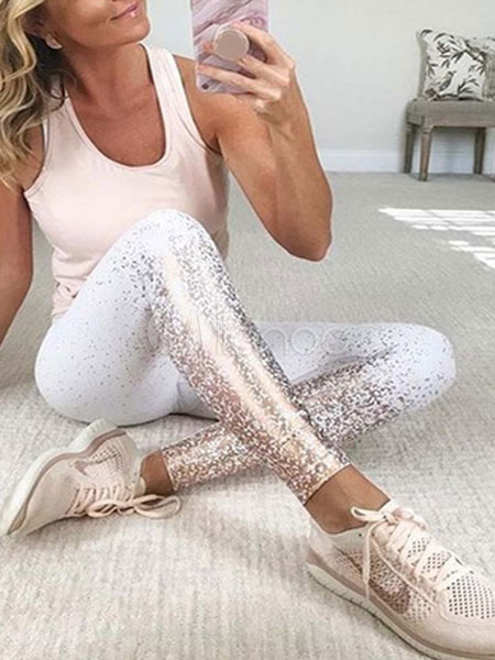 3dbc3abcf2362 Women Gym Leggings Glitter Metallic Spandex Workout Leggings-No.1 ...