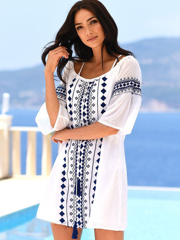 2c436df55d4dd Women Cover Up Polyester Cotton Geometric Strappy Jewel Neck Summer Beach  Cover Up-No.