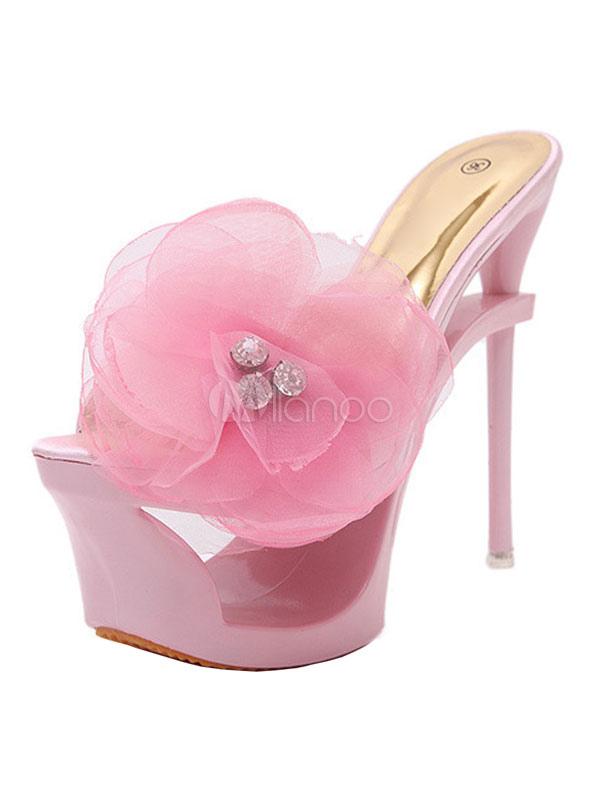 Plattform Blumen Sexy Sandalen Spitze 2019 Frauen Rosa Strass Offene ymN0v8nOw