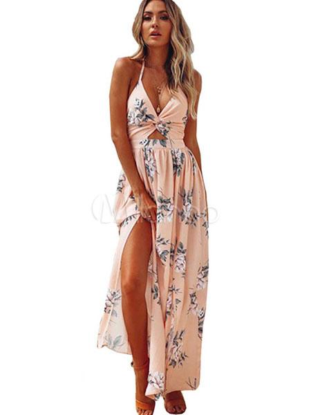2194aeca8b04 Floral Maxi Dress Split Sleeveless Printed Floor Length Slip Dress-No.1 ...