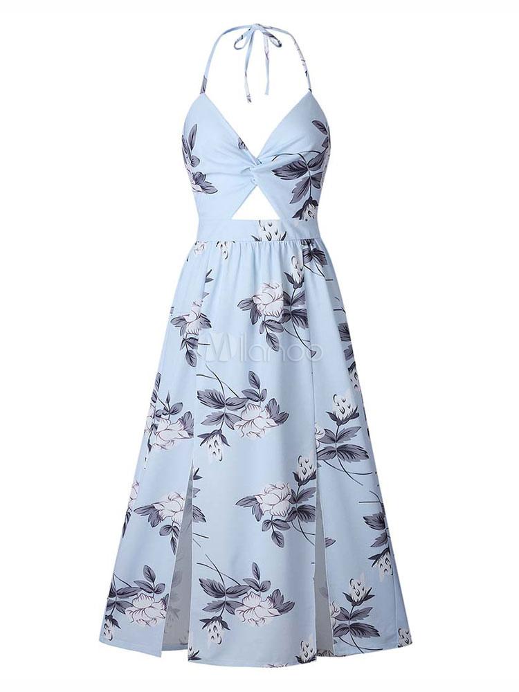 8a22be62847b ... Floral Maxi Dress Split Sleeveless Printed Floor Length Slip Dress-No.2  ...