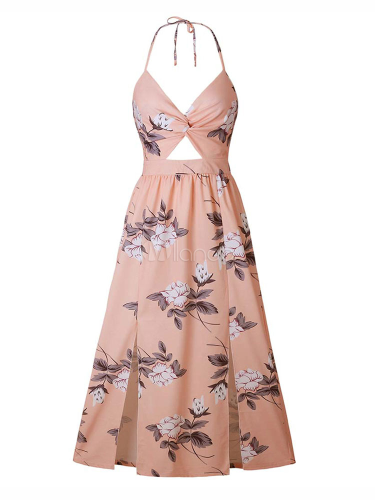 abd4ddff7b1f ... Floral Maxi Dress Split Sleeveless Printed Floor Length Slip Dress-No.4  ...