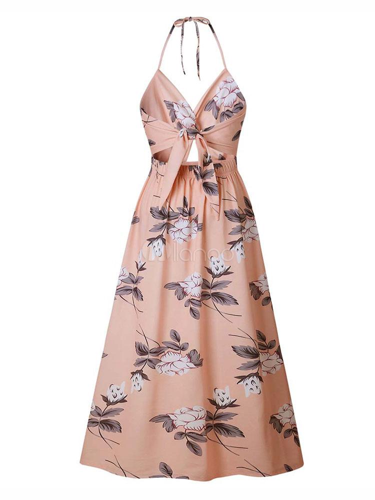 58892e274cc2 ... Floral Maxi Dress Split Sleeveless Printed Floor Length Slip Dress-No.5