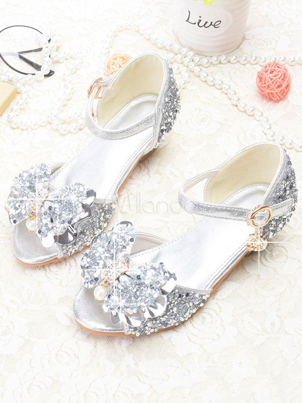 52e84c6a8a1 Sandalias De Plata Para Niños Zapatos Brillantes De Fiesta En Peep Toe  Zapatos De Niña De ...