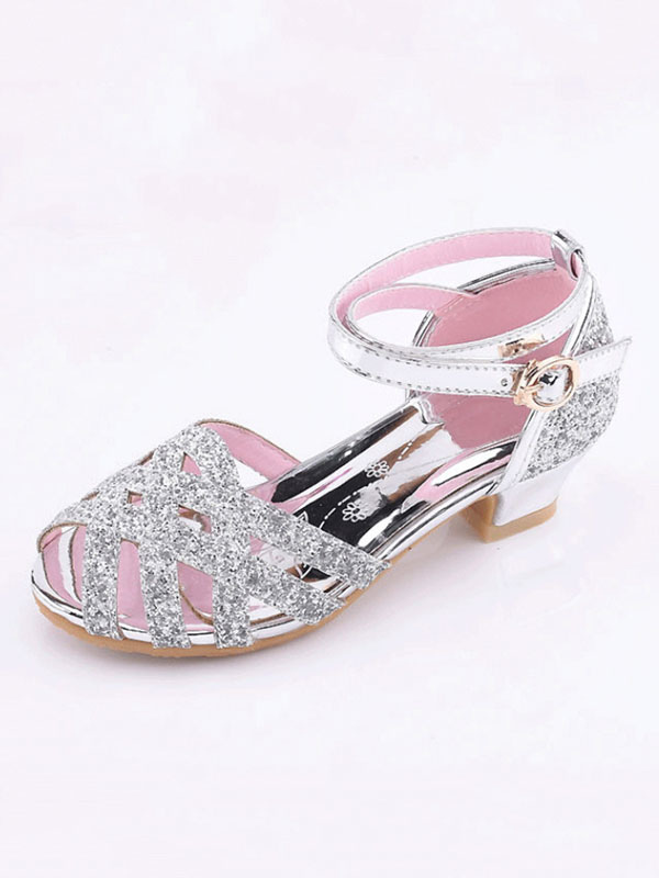Silver Party Shoes Glitter Cut Out