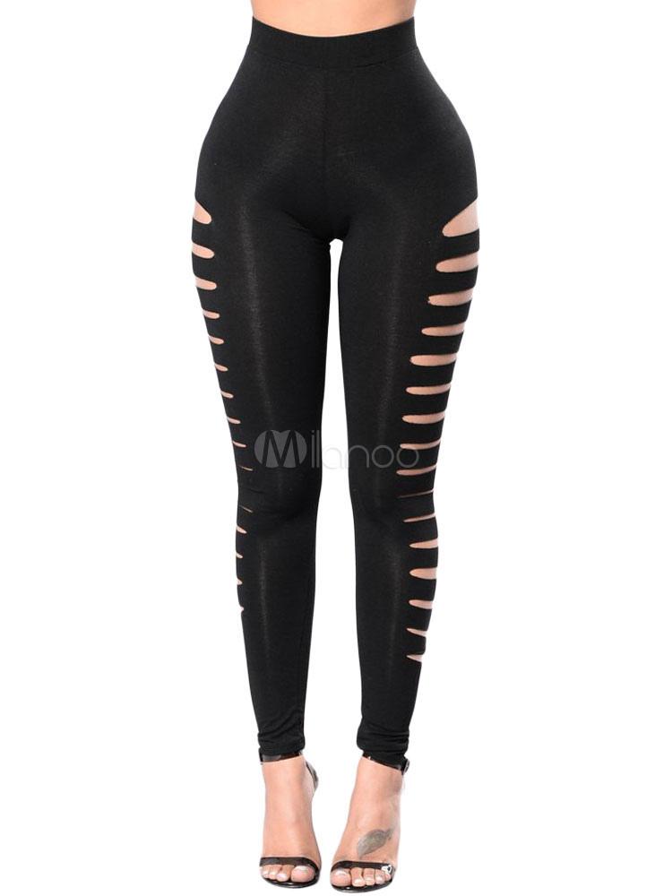 ce851d81129b4 Black Gym Leggings Stretchy Cut Out Side Women Workout Leggings-No.1 ...