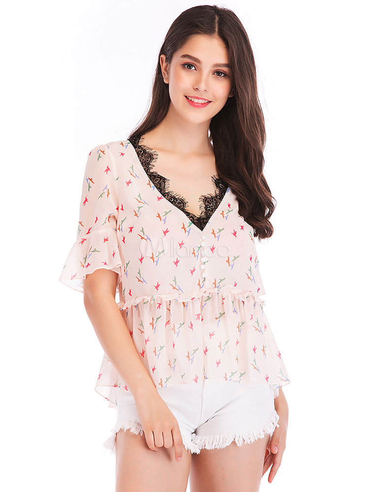 5f4413ec7ddfbe Blouse For Women Light Pink Print Lace V Neck Sweet Short Sleeves Chiffon  Tops-No ...