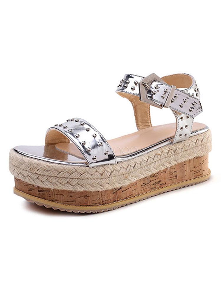 Zapatos Sandalias Detalle De Y Mujeres Cuentas Cuña Plataforma Hebilla Con Abierta Para Plateadas Punta QxdhrsCt
