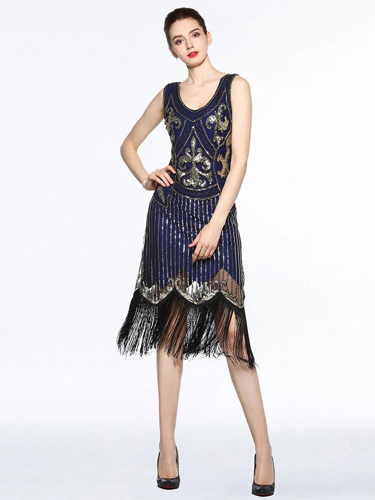 f3c244330c671 Women Flapper Dresses 1920s Great Gatsby Costume Sequin Fringe Blue Retro  Costume Dress Halloween