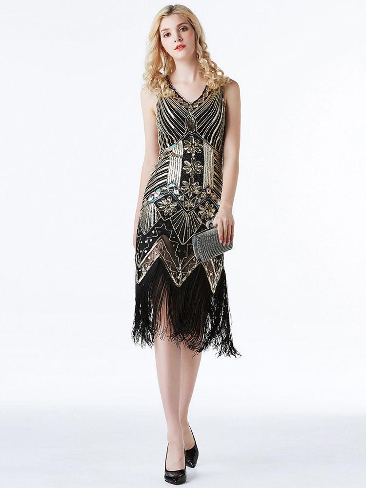 Golden Fler Dresses 1920s Great Gatsby Costume Women Sequin Fringe Vintage Costumes Dress