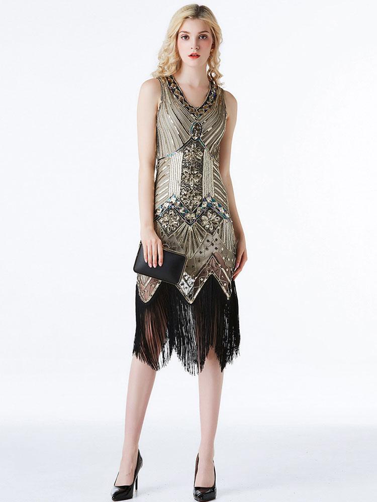 20er Jahre Kleid Charleston Kleid für Damen Polyester mit Pailletten Vintage Kleid
