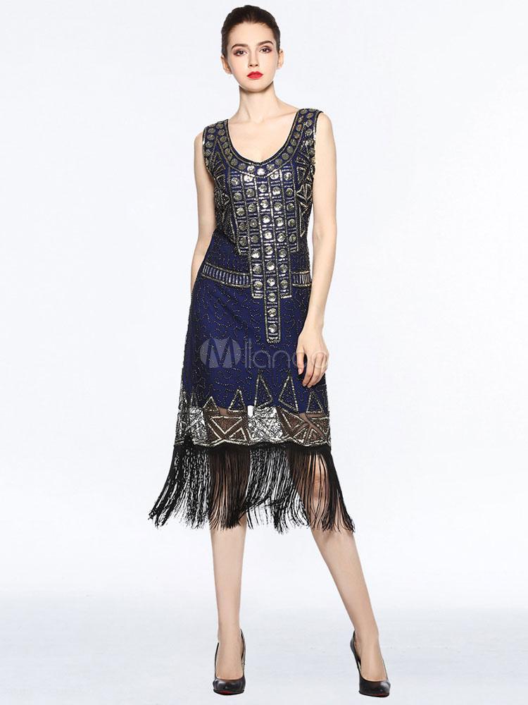 20er Jahre Kleid Charleston Kleid für Damen Polyester mit Fransen Vintage Kleid