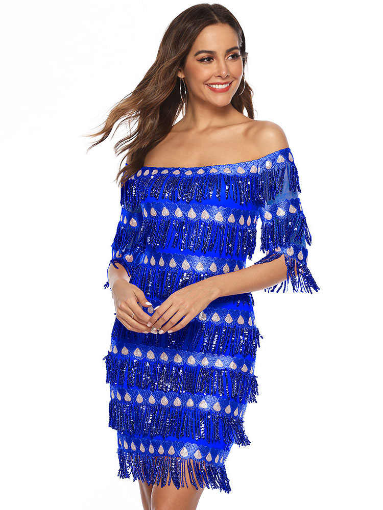Women Flapper Dress 1920s Fashion Style Outfits Great Gatsby Off the Shoulder Royal Blue Fringe Retro Dress with Tassels Party Dress