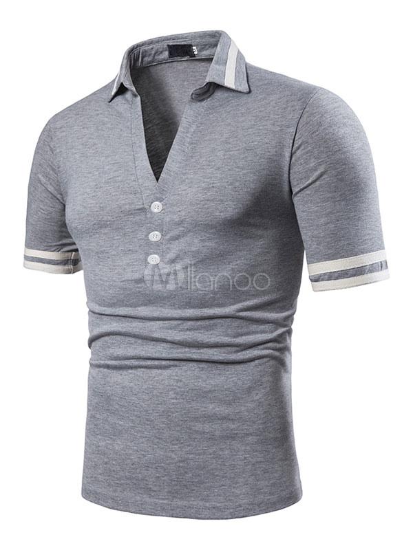 3f9df01453b5 ... Men T Shirt White V Neck Button Stripe Slim Fit Casual Short Sleeves T  Shirt Top ...