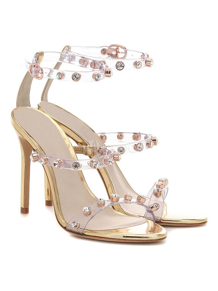 High Heel Sandaletten 2019 Damen Open Toe Strass Riemchen Party Schuhe Gold Abendschuhe