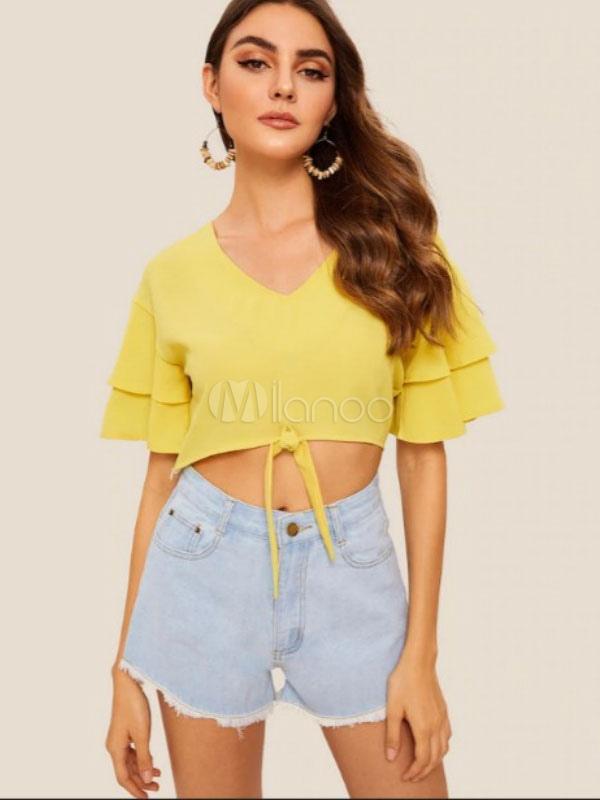 b305dbcb263f Mujeres Crop Top Amarillo volante de algodón Bowknot cuello en V manga  corta Casual Tops