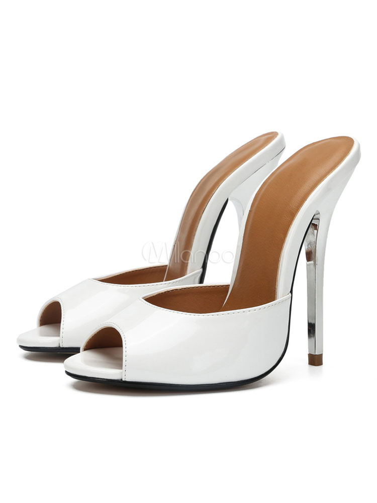 High Heel Mules White Peep Toe Stiletto