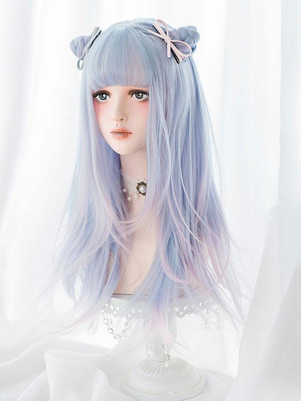 Sweet Lolita Wig Harajuku Unicorn Baby Blue Blunt Bang