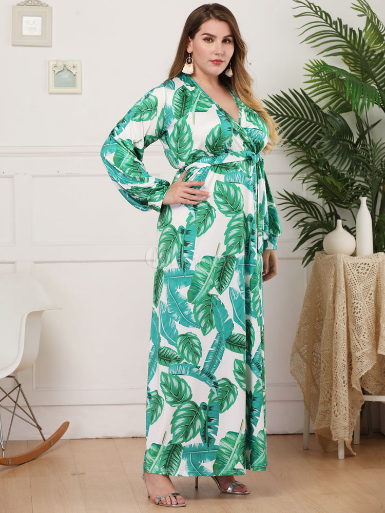 Plus Size Maxi Dress Long Sleeves Tropical Print Leaf Pattern Floor Length  Wrap Dress