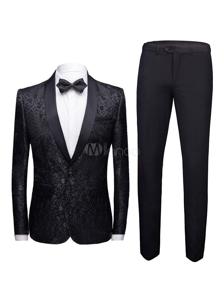 detailed look a08ca 1d269 Bräutigam Anzug schwarzer Schal Revers Jacquard formale Herrenbekleidung  für Hochzeit