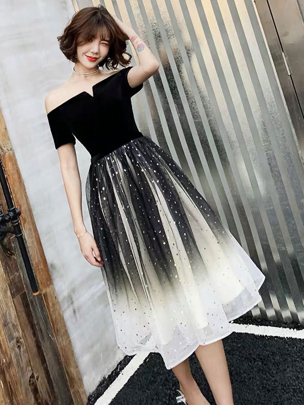 ddd4ef2cf98a ... Prom Dress 2019 Velour A Line Tea Length Gradient Tulle Social  Graduation Homecoming Party Dresses- ...