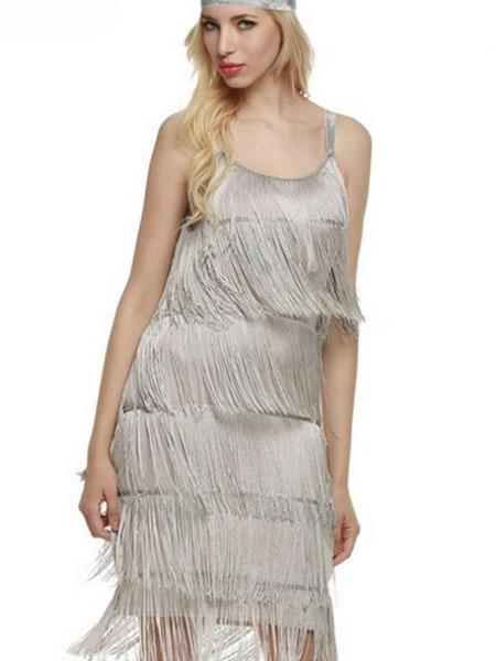 lady wearing beige fringe dress