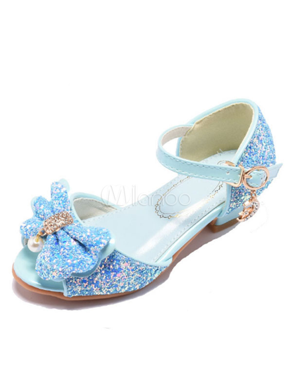 5d4c4e6347cce Blue Girl Sandals Glitter Peep Toe Bow Buckle Detail Flower Girl Shoes  Party Shoes For Kids