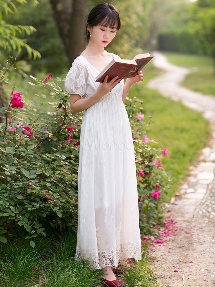 fb7e2804 Vestido de traje de regencia blanco de algodón corte imperio parche 1790s  vestido de traje de ...