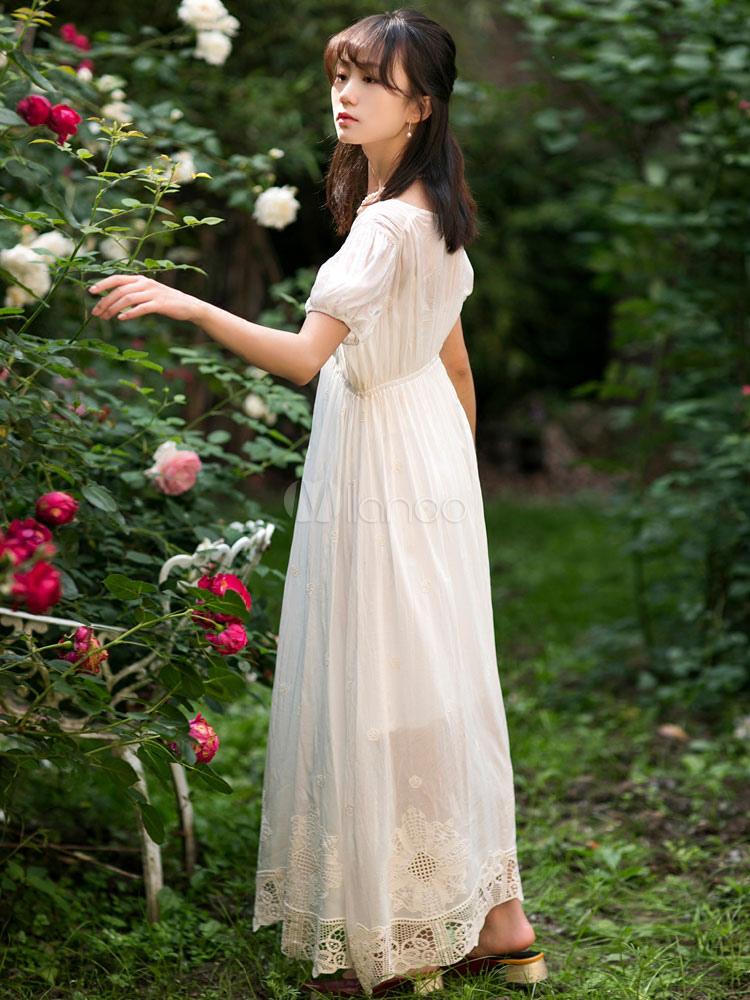 6ce9bbba ... Vestido de traje de regencia blanco de algodón corte imperio parche  1790s vestido de traje de ...