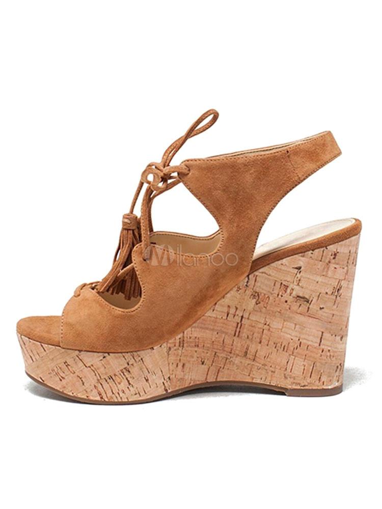huge discount e8aa2 12b16 Sandalo in pelle scamosciata Sandali con zeppa e plateau Scarpe con tacco  in pizzo e plateau