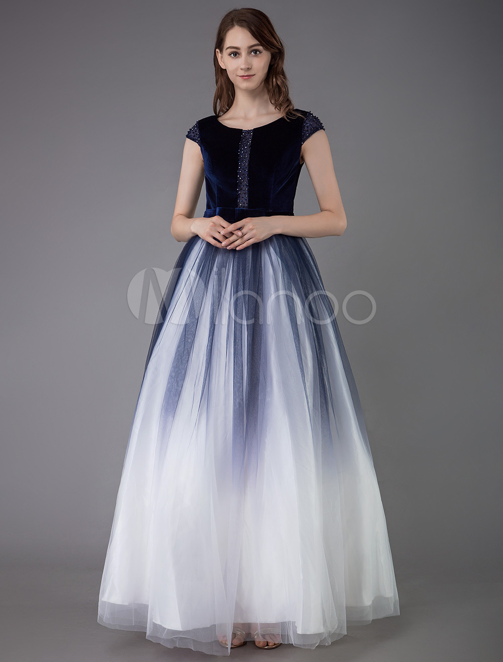 Prom Dress 2020 Tulle Ball Gown Korean Velvet Jewel Neck Floor Length  Social Princess Party Dinner Dresses