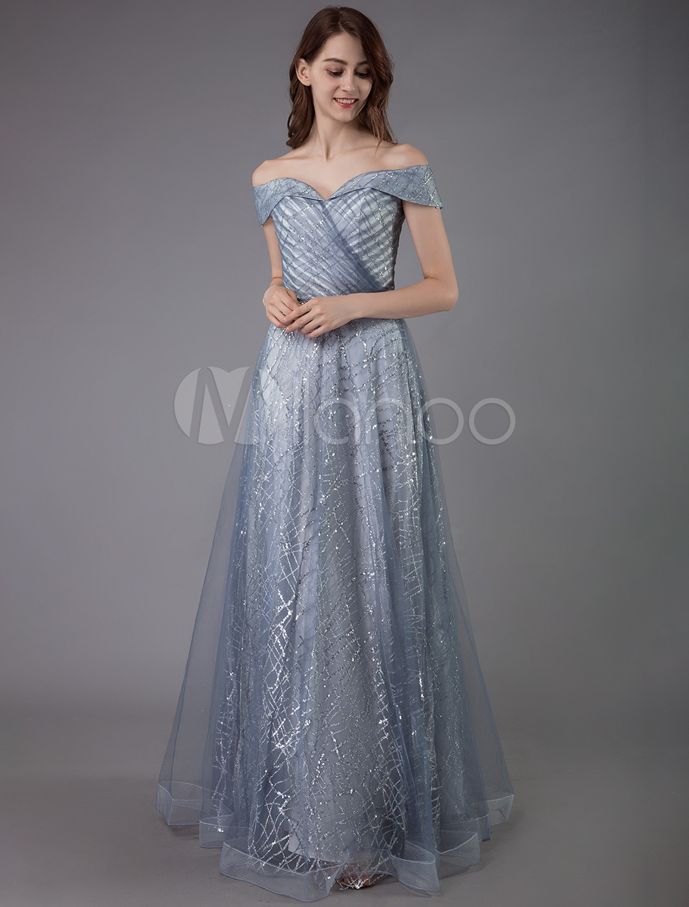 latest discount low price sale best authentic Constellation Dress Grey Sequin Prom Dress 2020 A Line Off Shoulder Short  Sleeves Pleated Tulle Formal Dinner Graduation Party Dresses