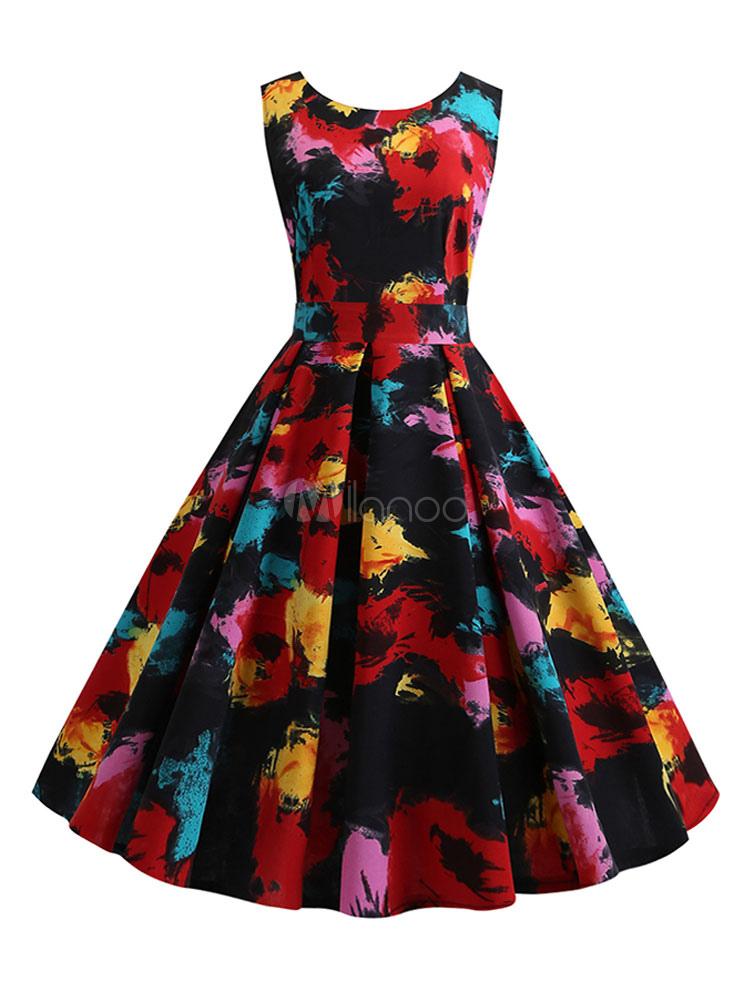 5709797a190d3 Floral Vintage Dress Audrey Hepburn 1950s Sleeveless Women Print Swing Dress