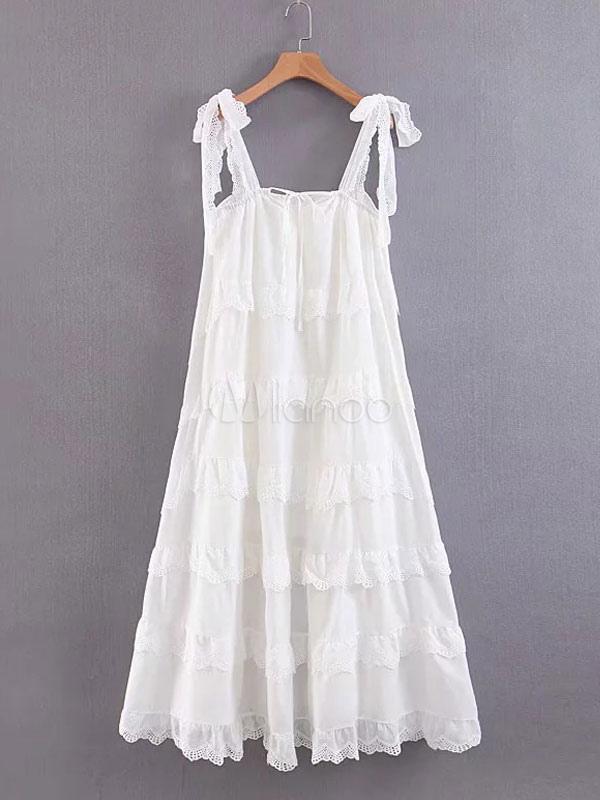 pretty nice 8c809 fe65c Strandkleid übergroßes und weißes Maxi Kleid Sommer Kleid tiered langes  Rüschen Kleid