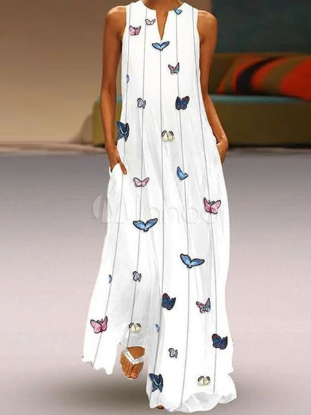 save off a1d56 9211e Maxi abiti bianchi Butterfly Stampa oversize senza maniche Abito lungo  estivo