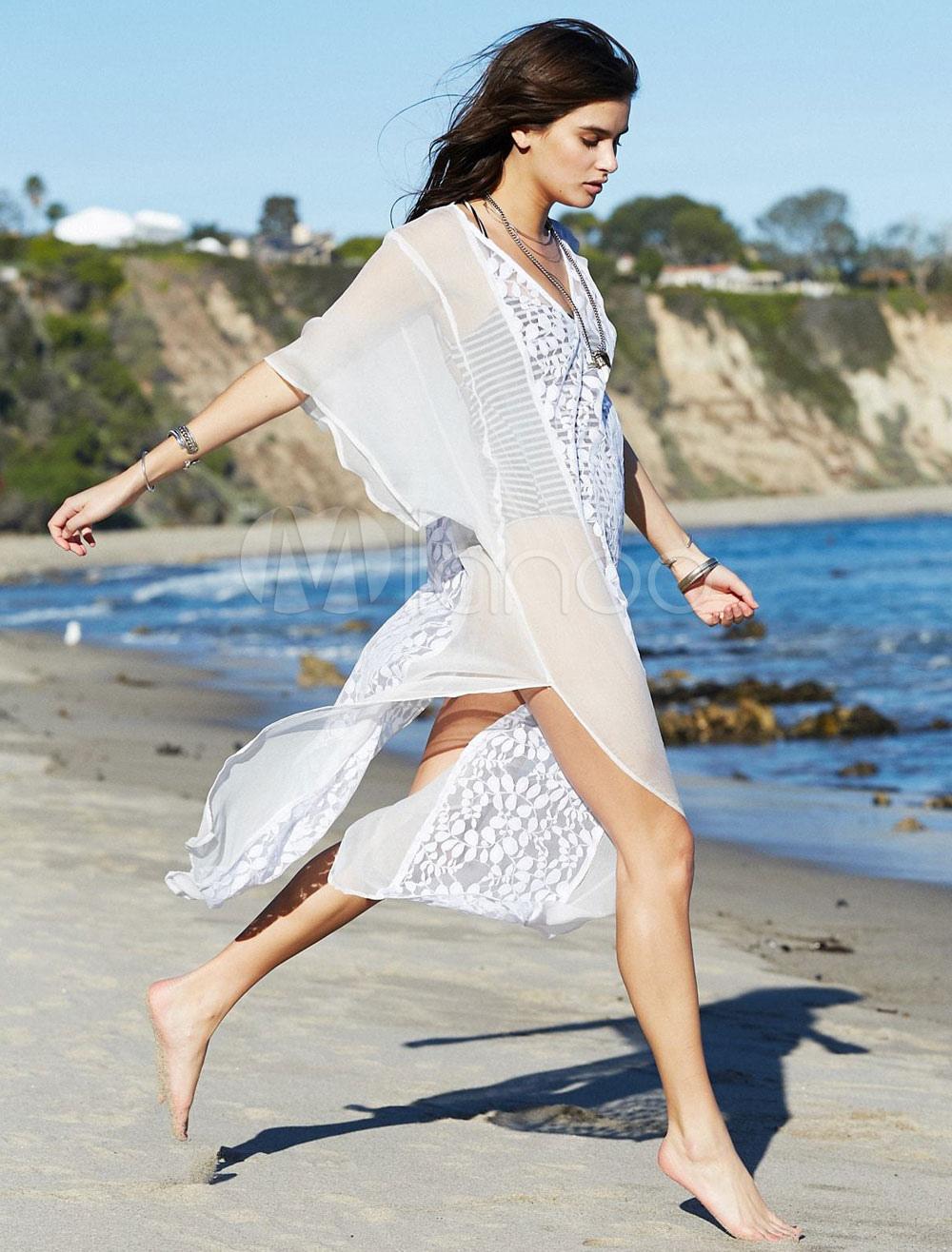 e9dd83da403090 Cover Up For Woman Lace Split Front V Neck Short Sleeve Summer Beach ...