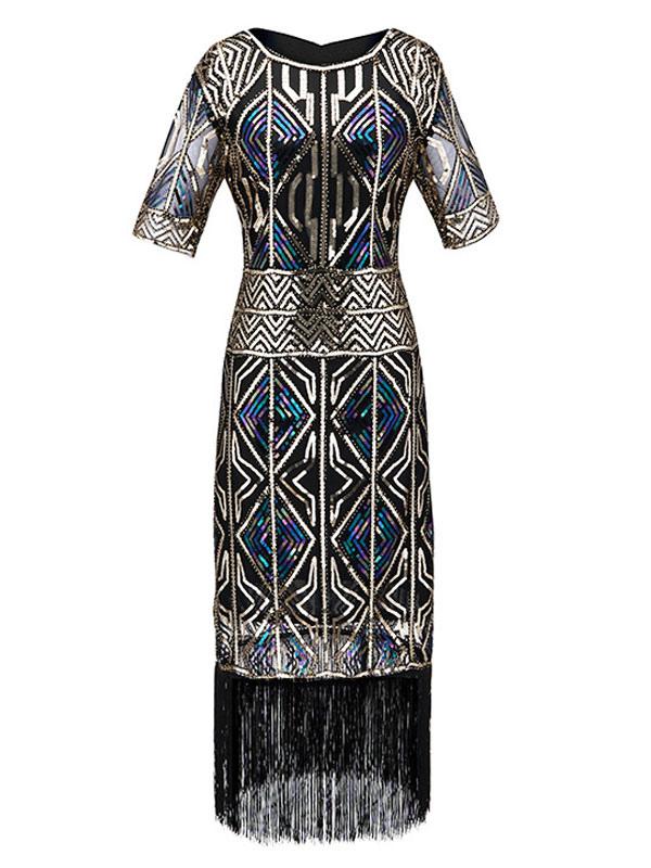 Anni 1920 Oro Lustrini /& con frange Flapper dress