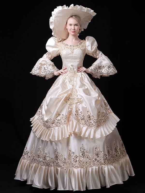 中世 ドレス 女性用 プリンセス 貴族ドレス アイボリー バロック風 マルディグラ レトロ ヨーロッパ 宮廷風 中世 ドレス・貴族ドレス