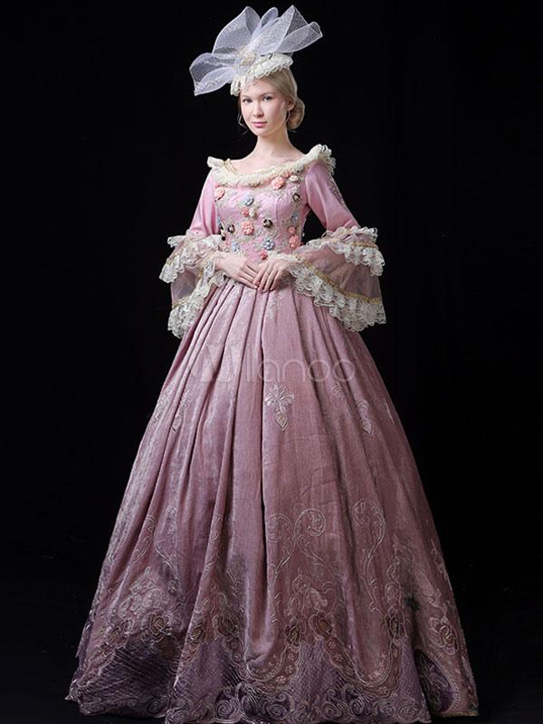 中世 ドレス 女性用 プリンセス 貴族ドレス ピンク ロココ調 マルディグラ レトロ ヨーロッパ 宮廷風 中世 ドレス・貴族ドレス