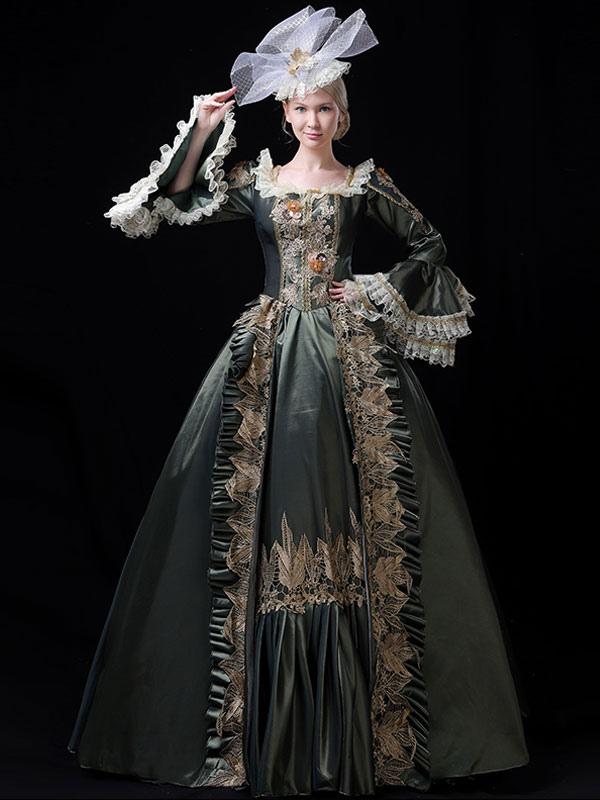 プリンセス 女性用 貴族ドレス 中世 ドレス セージグリーン ポリエステル マルディグラ ドレス バロック風 中世 ドレス・貴族ドレス ヨーロッパ  宮廷風 レトロ
