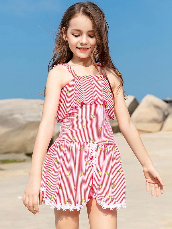 wholesale dealer 53e71 eb67b Children Swimwear Light Sky Blue Printed Straps Neck Summer Beach Swimwear